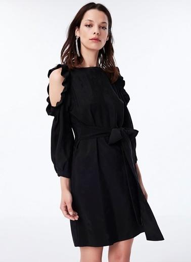 Ipekyol Omuz Pencereli Kuşaklı Elbise Siyah
